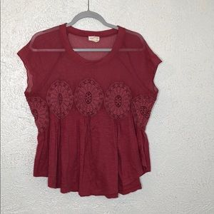 Anthropologie mesh embroidered top sz M